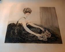 MAURICE MILLIERE ART DECO   JEUNE FEMME AUX MASQUES 1920 dlg LOUIS ICART