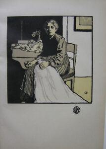 Emil Orlik (1870-1932) Die Näherin The Seamstress Orig Holzschnitt 1896
