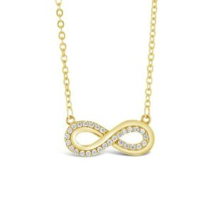 9ct CZ Double Infinity Necklace