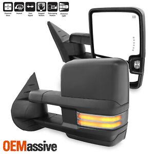 Pair Power Heat [Sequential Turn] Black Towing Mirror For 07-13 Silverado Sierra