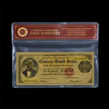 WR 1882 $100 Gold Certificate US Old Dollar Gold Banknote In Plastic Sleeve