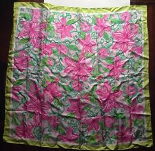 """Lilly Pulitzer Scarf Lilies Green Pink Hand Rolled Sewn Edges 35""""x35"""""""