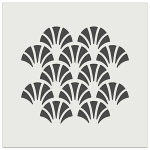 Geometric Fish Scale Trees Art Deco Pattern Wall Cookie DIY Reusable Stencil