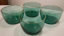 "4 Libbey Juniper Green Glass Gold Rim Bowls 4 1/4"""