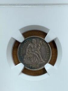 1886 Seated Liberty Dime NGC AU