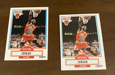 🔥 MICHAEL JORDAN Rare Error 1990-91 Fleer #26 NO LINE + LINE ON BACK (2 Cards)