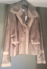 New Christian Dior Swakara fur ladies leather trim jacket 40