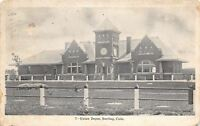 Sterling CO Post Railing Around Union Depot Park~B&W 1908 As Is