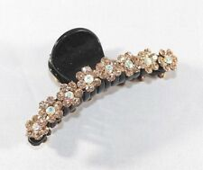 Brand New Flower Pattern Black Hair Clip Claw w/Clear AB and Brown Crystals