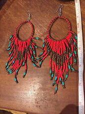 huge Earrings Hoop Beaded Tassel Hippie Bohemian Boho Tribal Festival Gypsy folk