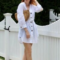 Zara Womens Dress Sz XS White Oversize Eyelet Tunic Cover-up Button Up  Dress