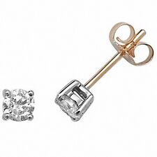 Diamond Solitaire Earrings 0.50ctw Yellow Gold Studs  Appraisal Certificate