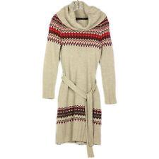 Moda International Beige Wool Angora Cowl Neck Sweater Dress Fair Isle Nordic S