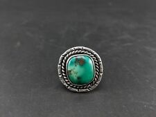 Vintage Native American Navajo Sterling Silver Green Turquoise Ring Size 10.5
