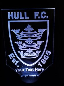 BIG PERSONALISED HULL FC NIGHT LIGHT LAMP MULTI-COLOR LED USB BASE