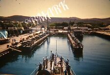 Vtg Original KODACHROME Red Border 35mm Slide Guantanamo Bay Cuba Navy Ship Dock
