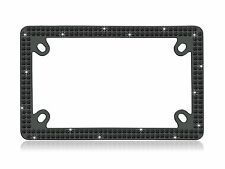 Double Row Motorcycle BLACK Real Crystal Embedded Black License Plate Frame