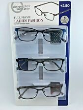 DesignOptics Full Frame Ladies Fashion Reading Glasses 3pair +2.50