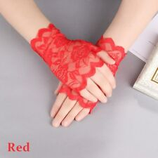 2018 Women Evening Bridal Wedding Party Dressy Lace Fingerless Gloves Mittens Red