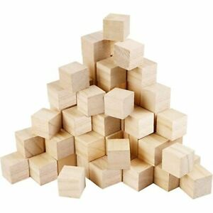 50 Pieces Wooden Cubes Unfinished Square Cubes Wood-Blocks For Math Making