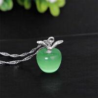 Fashion Women Cat Eye Stone Apple Pendant Necklace Choker Chain Jewelry Gift