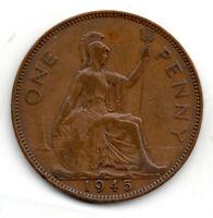1945 One Penny George VI, rare double struck 9, Error Coin GF Great Britain  #B5