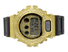 Mens Casio G Shock 6900 Yellow Gold Plated Canary Simulated Diamond Watch 5.5 Ct