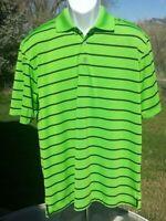 PGA TOUR Airflux ~ Green Stripe Golf Polo ~  Henley Shirt ~ Men's Size XL