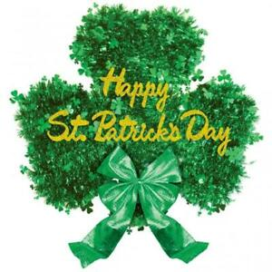 Happy St Patricks Day Shamrock Deluxe Tinsel Hanging Decoration