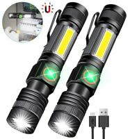 Portable COB LED Tactical Magnetic Flashlight Super Bright USB + Battery Lamp