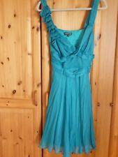 Sz 14 vestido de jade ocasión por WAREHOUSE, Corsage Rosas a un hombro
