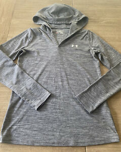 Under Armour Women's XS Activewear Top Hooded Space Dyed Gray Long Sleeve NICE!