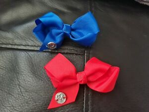 2 X Our Generation Hair Clip Bows Red  And Blue