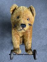 "RARE Early Antique Large Schuco Tricky Cinnamon Mohair""Yes No"" Bear Metal Wheels"