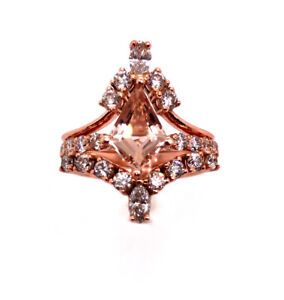 Engagement Ring 14k Rose Gold Kite Cut Morganite Ring Anniversary Bridal Set