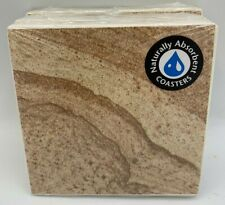 New listing New Set of 4 Naturally Absorbent Sandstone Cork Backed Beverage Coasters 15968