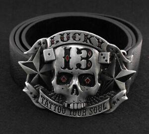 COOL Men's Casual Belt Black Leather Belts Male Western Skull Metal Pin Buckle