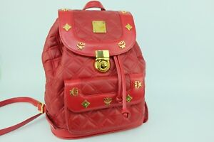 100% Authentic MCM Red Leather Quilt *German Made* Backpack + Dust Bag