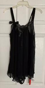 NWT Fleur du Mal Black Lace Silk Slip / Romper Size *M /L*