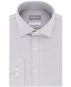 Michael Kors Mens Dress Shirt Soft Gray Size 17 1/2 Slim Fit Fine Knit $85 #212