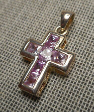 Estate Pendant Small Sterling Silver 925 Christian Cross Lilac CZ Square Stones