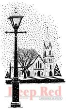 Deep Red Stamps Winter Church Rubber Cling Stamp