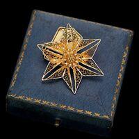 Antique Vintage Deco Sterling Silver Gold Portuguese Filigree Flower Pin Brooch
