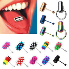 Punk Women Men Vibrating Tongue Ring Stud Body Piercing Jewelry With 2 Batteries