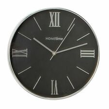 Modern Hometime Round Silent Wall Clock - Black Dial - Chrome Trim