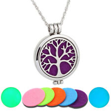 Tree Life Round Stainless Steel Diffuser Perfume Photo Locket Pendant Necklace