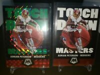 2020 Mosaic Football Adrian Peterson Touchdown Masters Green and Base 2 card lot