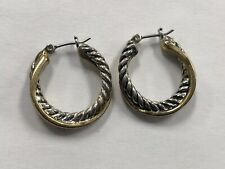 Pretty Silver Plated & Gold Toned Cable Twisted Hoop Earrings