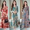 Women High Waist A-Line Flare Swing Maxi Dress Floral V-Neck Long Sleeve Evening