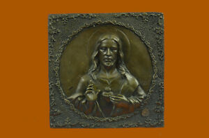 Handcrafted bronze sculpture SALE Mount Wall Angel And Christ Jesus Signed Decor